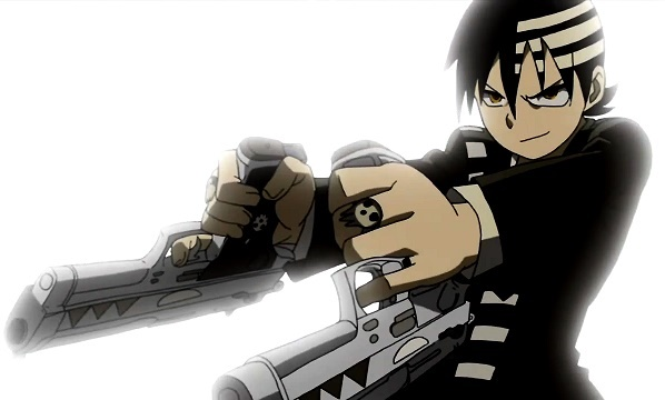 Soul Eater Kid posing with two guns
