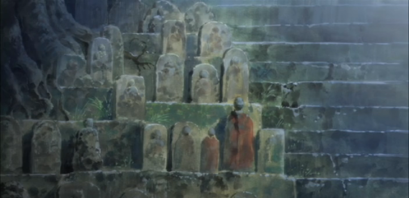 Blood-C Stone Figures Next to Steps Background
