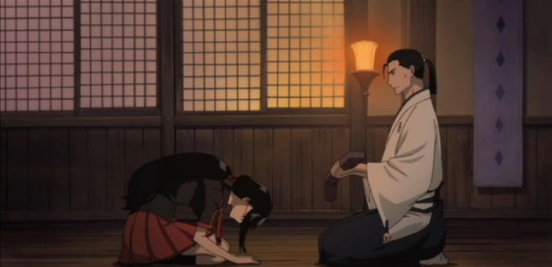 Blood-C Saya Bowing Toward Tadayoshi