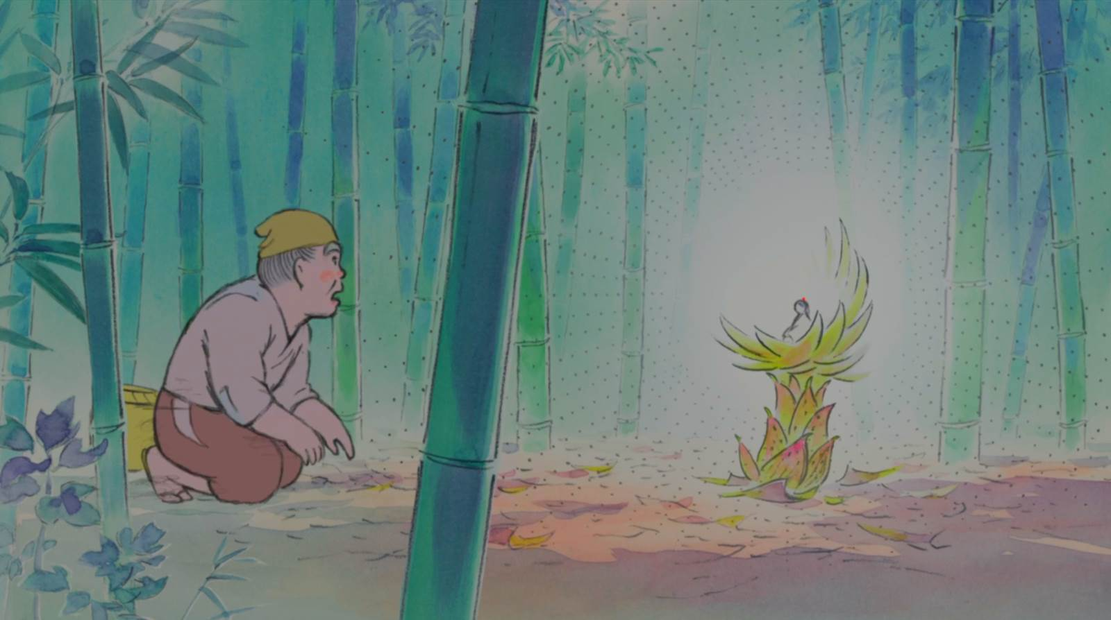 Kaguya-hime no Monogatari, Princess Kaguya is found inside a bamboo shoot
