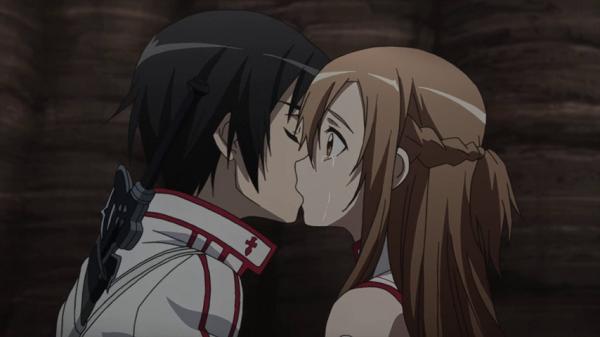 Hot Moments Sword Art Online Kirito kiss Asuna