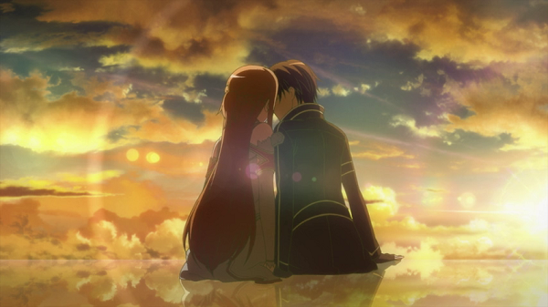 Hot Moments Sword Art Online Asuna kiss sunset Kirito
