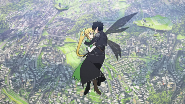 Hot Moments Sword Art Online Kirito and Leafa are hugging air