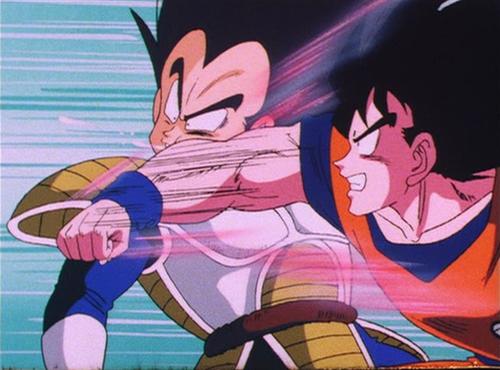 Dragon Ball Z Goku punches Vegeta