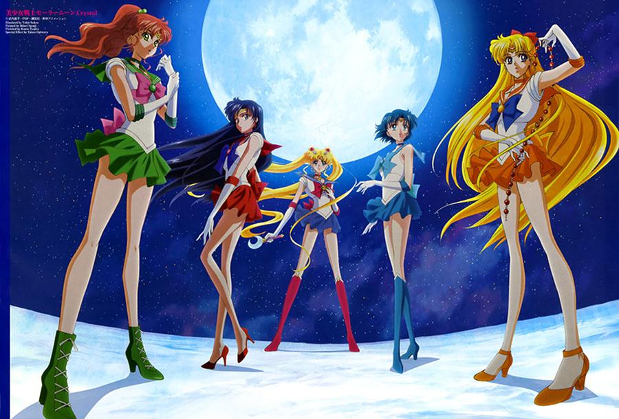 Sailor Moon Crystal, Sailor Moon, Sailor Venus, Sailor Mercury, Sailor Mars, Sailor Jupiter