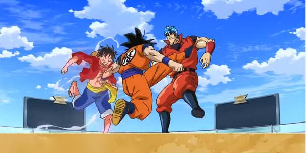 Toriko x One Piece x DBZ fight