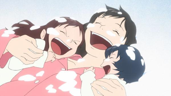 Wolf Children Hana Ame and Yuki anime family