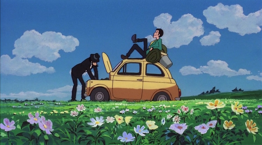 Lupin III Cagliostro no Shiro - Lupin and Jigen with a broken car Best Anime Movies to Kick-Start 2016