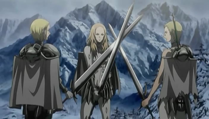 Claymore: Helen, Deneve, Miria anime swords