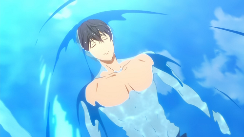 Haruka from Free has hot anime abs!