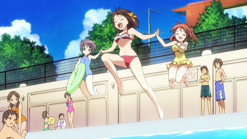 Check out these anime bikini babes from Love Live! and some anime swimsuit hunks! Haruhi Suzumiya