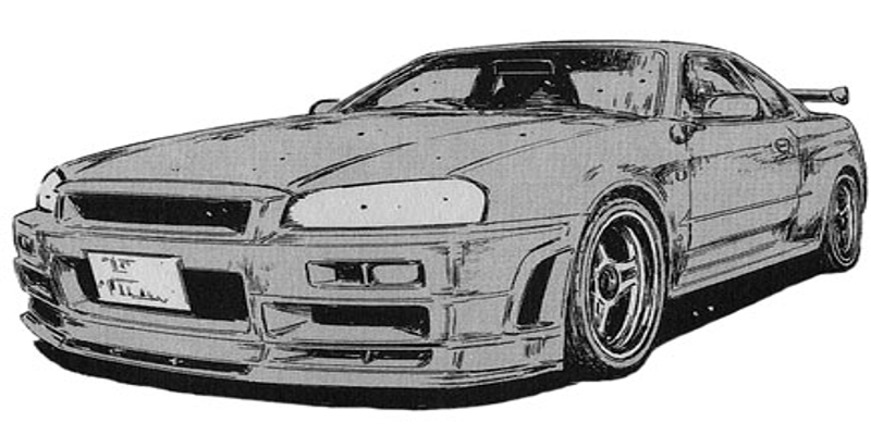 Initial D Anime Nissan Skyline GT-R V-spec II Nür