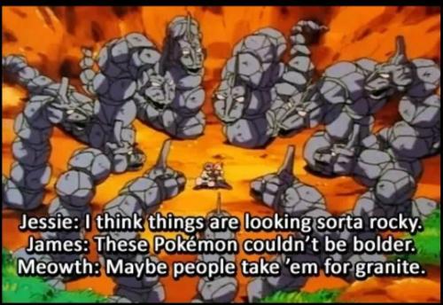 pokemon, team rocket, jessie, james, meowth, rock type, funny, pun, joke