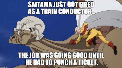 saitama, one punch man, funny, pun, joke, punch