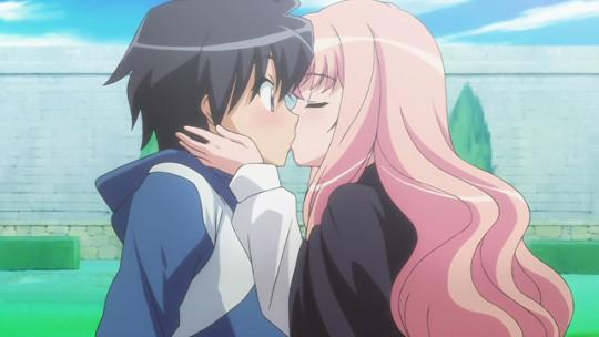 Saito and Louise are from Zero no Tsukaima, an anime like Kaze no Stigma.