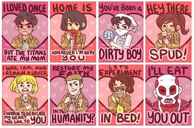Attack on Titan Shingeki no Kyojin anime valentines