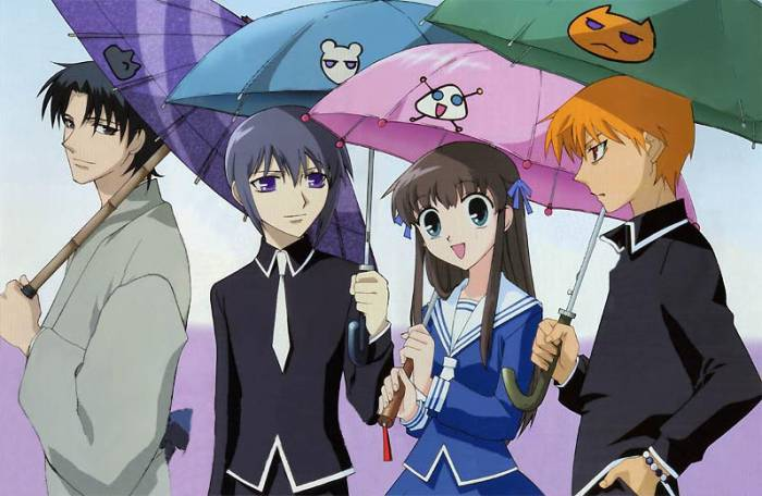 shoujo anime series, Fruits Basket, Tooru Honda, Kyou Souma, Yuki Souma,