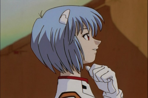 Rei Ayanami from Neon Genesis Evangelion has a cute anime smile!