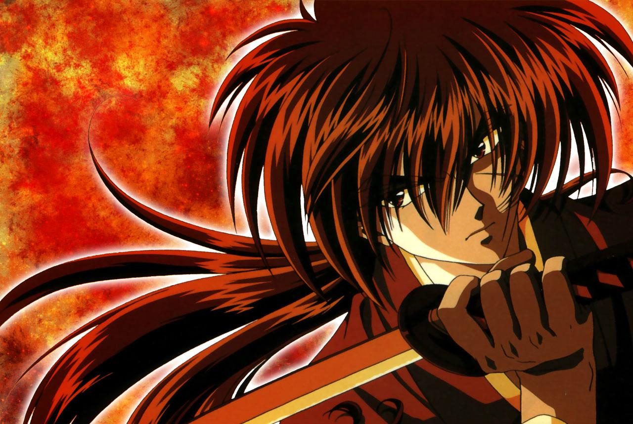 Kenshin Himura Rurouni Kenshin: Meiji Kenkaku Romantan anime long hair