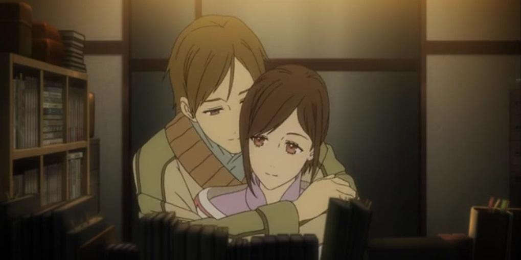 Shinsekai yori anime hug