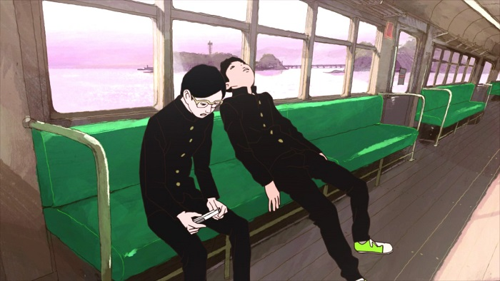 Ping Pong: The Animation, peco and smile on train looking bored