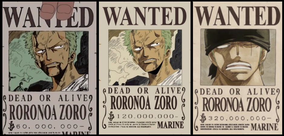 zoro's three wanted posters