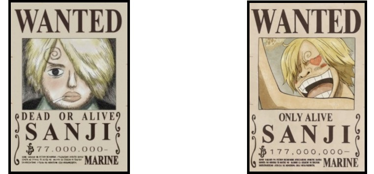 sanji's wanted posters