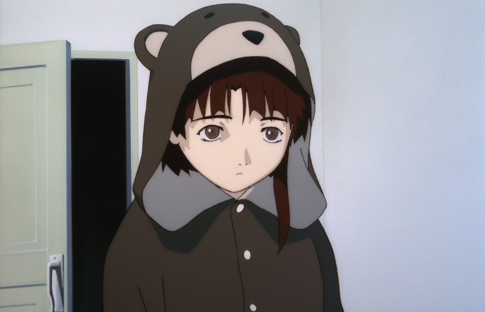 Depressed Iwakura Lain in her comforting bear suit to deal with the pressures of daily life
