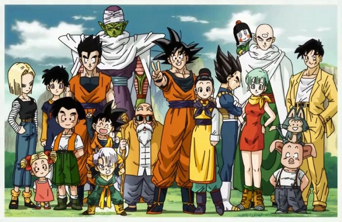 A group photo of many Dragon Ball and Dragon Ball Z characters featured in DBZ AMVs