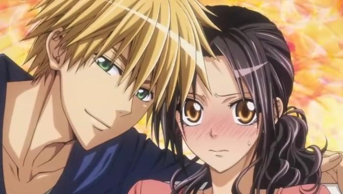 Usui confidently leaning in, Misaki blushing