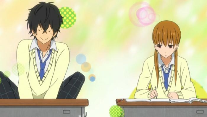 Haru with mischievous grin, Shizuku blank expression