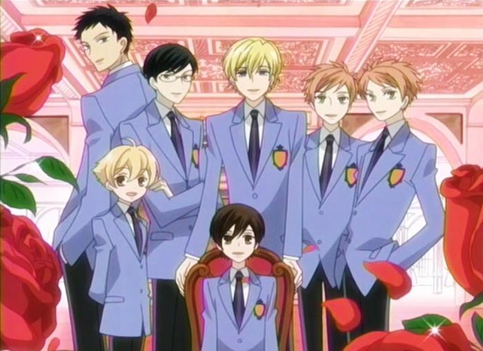 Takashi, Kyouya, Tamaki, Hikaru, Kaoru, Mitsukuni, Haruhi