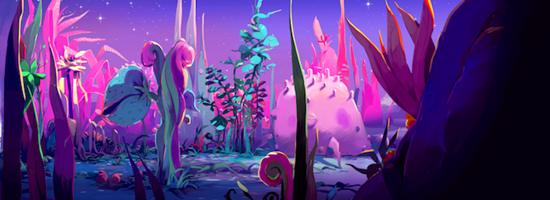 Space Dandy plant planet background