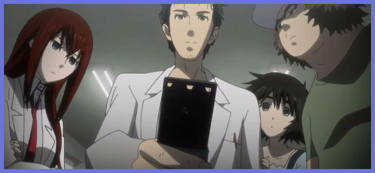 steins gate okabe looking at phone thumbnail