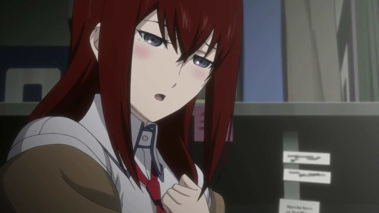 makise kurisu tearing up