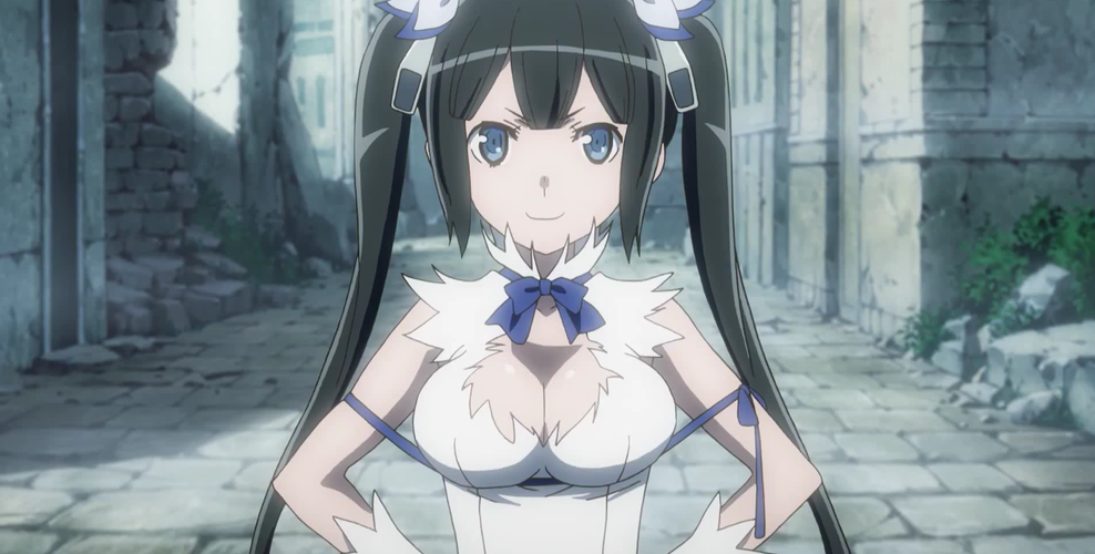 Hestia with her hands on her hips, smiling cheeky