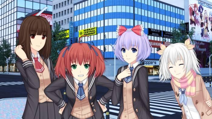 Ava Crescentia caressing her hair, Asaka Oakrun smirking, Chigara Ashada smiling, Sunrider Academy