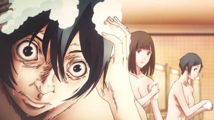 Kiyoshi Fujino shampooing hair, Chiyo Kurihara and Mayumi Tanaka bathing, Prison School