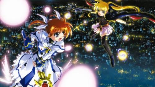 Nanoha Takamachi and Fate Testarossa flying in the night sky, Mahou Shoujo Lyrical Nanoha: The Movie 1st