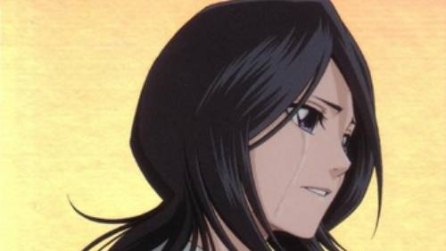 Rukia Kuchiki sad with tear streak on cheek, Bleach