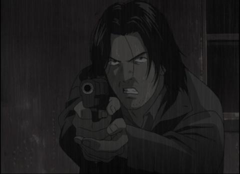 Tenma pointing a gun, Monster