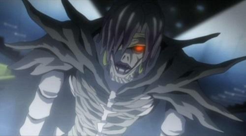 Rem stares menacingly at Watari as her eyes glow red in Season 2 Episode 25 Silence