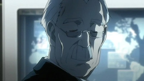 Watari staring at the screen in front of a computer screen with his eyes closed