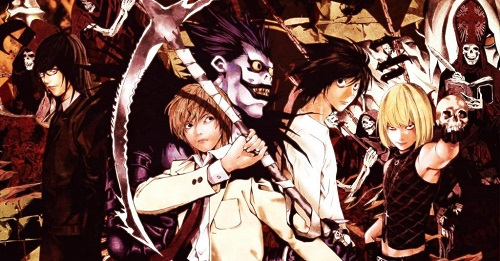A group shot of the many Death Note characters posing