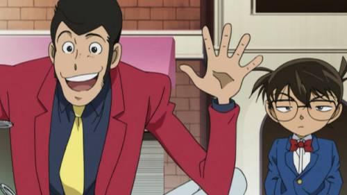 Arsene Lupin III with hands up, Conan Edogawa looking bemused, Lupin III vs. Detective Conan: The Movie