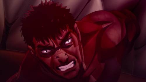 Guts bloodied after severing arm, Berserk: The Golden Age Arc III - The Advent