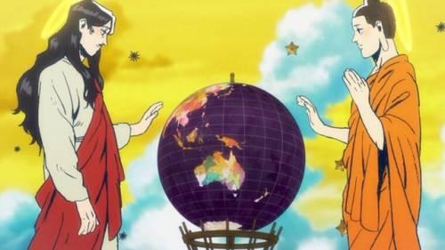 Jesus and Buddha standing next to globe, Saint Oniisan