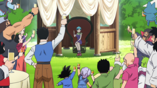 Scenes for a Happy Birthday Anime Style, Bulma sitting on chair and holding glass, Gohan Son holding glass, Yamcha holding glass, Dragon Ball Z Movie 14: Kami to Kami