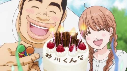 Takeo Gouda and Rinko Yamato holding Makoto Sunkawa's birthday cake, Ore Monogatari!!