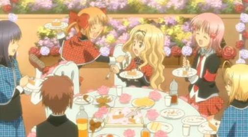 Rima Mashiro holding plate with cake, Yaya Yuiki attempting to feed Rima, Amu Hinamori laughing, Shugo Chara!